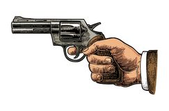 Hand firing a gun for starting race. Hand holding revolver for fired. Vector color engraving vintage illustrations. Isolated on white background. For tattoo, web Stock Photo