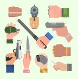 Hand firing with gun vector. Hand firing with gun protection ammunition vector Stock Photos