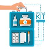 Hand with first aid kit with medical tools. Vector illustration Royalty Free Stock Photo