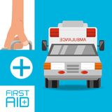 Hand with first aid kit suitcase and ambulance to urgency. Vector illustration Stock Photos