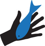 Hand and Fish Illustration Royalty Free Stock Photography