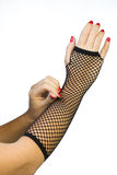 Hand in fish net glove Stock Photography