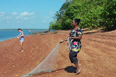 Hand fishing in Weipa royalty free stock images