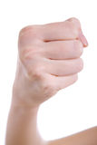 Hand with fist against a white background Royalty Free Stock Photos