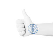 Hand with Fist of FAO (Food and Agriculture Organization) Painted Royalty Free Stock Photography