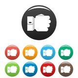 Hand fist icons set color vector royalty free illustration