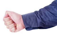 Hand in fist. Hand of a man given a fist isolated on white background Royalty Free Stock Photos