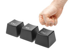 Hand in a fist  push delete key, alt, ctrl Royalty Free Stock Images
