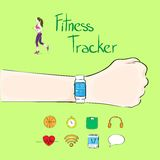 Hand fitness tracker wrist sport bracelet woman. Exercise workout girl wear smart watch flat icon vector illustration Stock Images