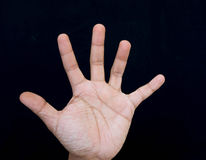 Hand and five finger signage Royalty Free Stock Image