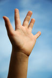 Hand five fingers. A child holding up five fingers to indicate the number five Stock Images