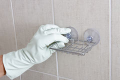 Hand fix soap holder. Royalty Free Stock Image