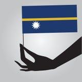 Hand with flag Nauru Stock Image