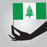 Hand with flag Norfolk Island Stock Image