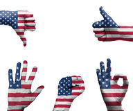 Hand with the flag of the USA Stock Photos