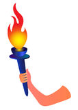Hand with flaming torch Stock Photo