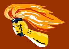 Hand with flaming torch Stock Images
