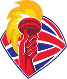 Hand Flaming Torch Bristish Flag Retro Royalty Free Stock Photo