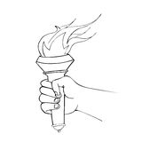 Hand with flaming torch Royalty Free Stock Photography