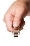 Hand and flash drive Royalty Free Stock Image