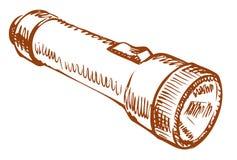 Hand flashlight. Vector drawing Stock Photography