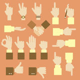 Hand flat  design set with okay gesture Royalty Free Stock Photos
