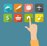 Hand with flat icons vector illustration. This is file of EPS10 format Royalty Free Stock Photos