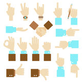 Hand flat vector design set with okay gesture Stock Photography