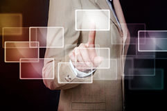 The hand on the flow of several button Royalty Free Stock Photography