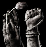 Hand with flower and hand with rope Royalty Free Stock Image