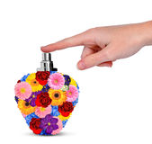 Hand with flower perfume Royalty Free Stock Photo