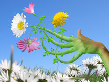 Hand Flower. Touch of Mother Nature Spring Illustration Stock Images