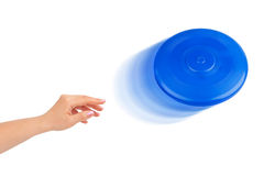 Hand and flying disc Stock Image