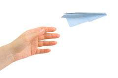 Hand and flying money plane Royalty Free Stock Image