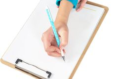 Hand and folders Royalty Free Stock Photography
