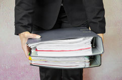 Hand with folders Royalty Free Stock Image