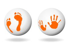 Hand and foot print Royalty Free Stock Image