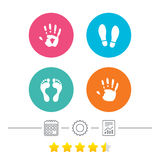 Hand and foot print icons. Imprint shoes symbol. Hand and foot print icons. Imprint shoes and barefoot symbols. Stop do not enter sign. Calendar, cogwheel and Stock Photo