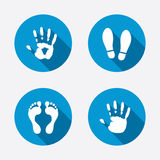 Hand and foot print icons. Imprint shoes symbol. Hand and foot print icons. Imprint shoes and barefoot symbols. Stop do not enter sign. Circle concept web Stock Photos