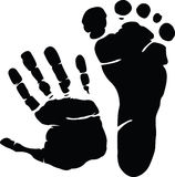 Hand and footprint Royalty Free Stock Image