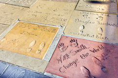 Hand- and Footprints of Actors and Musicians in front of the TCL Chinese Theatre Royalty Free Stock Photo