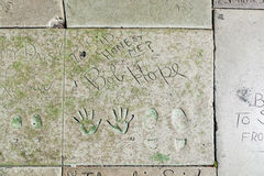 Hand- and Footprints of Bob Hope in front of the TCL Chinese Theatre Stock Images