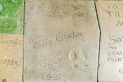 Hand- and Footprints of Eddie Cantor in front of the TCL Chinese Theatre Stock Photo