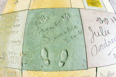 Hand- and Footprints of Frank Sinatra in front of the TCL Chinese Theatre. LOS ANGELES - JUNE 26:  hand- and footprints of Frank Sinatra at the Hollywood Stock Photography