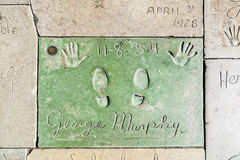 Hand- and Footprints of George Murphy in front of the TCL Chinese Theatre Stock Images