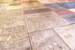 Hand- and Footprints of Hollywood Celebrities in front of Grauman's Chinese Theatre in Los Angeles Royalty Free Stock Photography
