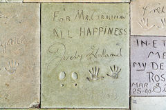 Hand- and Footprints of Judy Garland in front of the TCL Chinese Theatre Royalty Free Stock Image