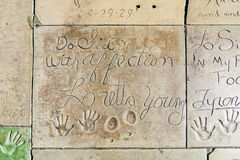Hand- and Footprints of Loretta Young in front of the TCL Chinese Theatre Stock Photo