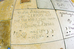 Hand- and Footprints of Marion Davies in front of the TCL Chinese Theatre Stock Photos