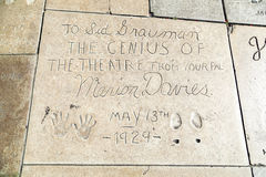 Hand- and Footprints of Marion Davies in front of the TCL Chinese Theatre Stock Images